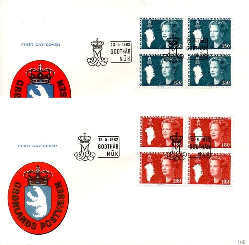 1982 Queen Margrethe Definitives (Official) 4 Blocks