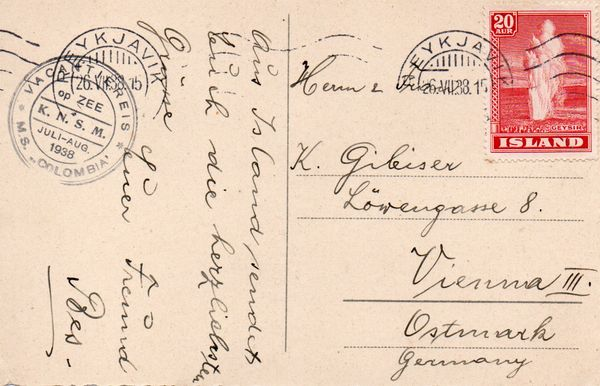 1938 Ships Mail - Postcard to Germany