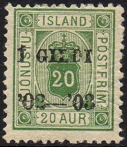 1902 Official I GILDI 20a Green Perf 14x13½