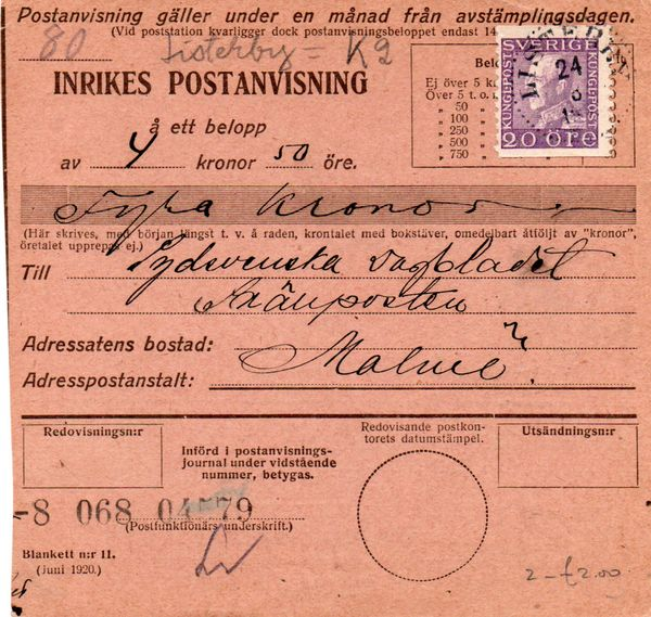 1921 Postal Receipt Form - Listerby to Malmo